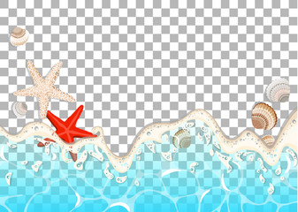 Realistic vector frame of  azure foamy wave , starfish and shells.