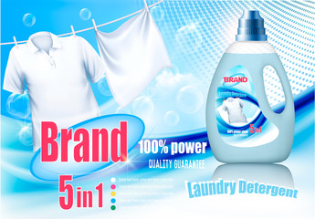 Laundry detergent ad. Design template. Plastic bottle  and white cloth on rope.  Vector