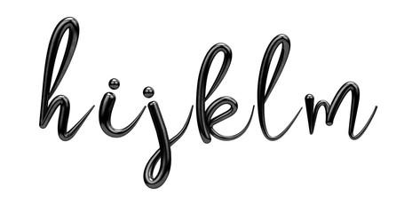Lettes h, i, j, k, l, m, black handwritten script font. 3D Render