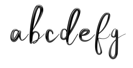 Lettes a, b, c, d, e, f, g, black handwritten script font. 3D Ren