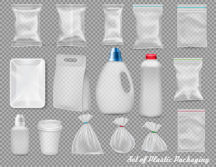 Big set of polypropylene plastic packaging - sacks, tray, cup on transparent background. Vector illustration