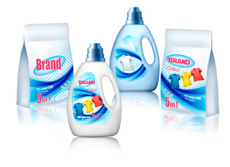 Laundry detergent package design, set of container bottles with label and bags. Vector