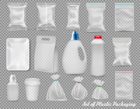Big set of polypropylene plastic packaging - sacks, tray, cup on transparent background. Vector illustration