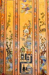Hue, Vietnam. Mosaic tiles decoration in Thien Dinh Palace where Khai Dinh Emperor is buried at Royal Khai Dinh Tomb complex.