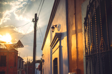 Evening sun over Mexican town