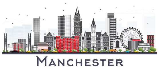 Wall Mural - Manchester Skyline with Gray Buildings Isolated on White.