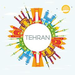 Tehran Skyline with Color Landmarks, Blue Sky and Copy Space.