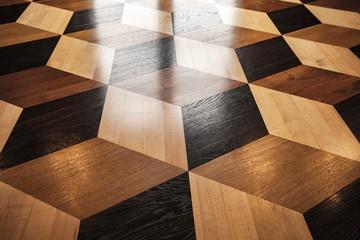 Classic old wooden parquet, volume cubes