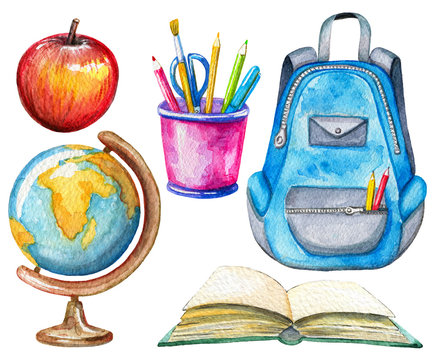 Set with globe, apple, stationery, schoolbag and book on white background. Watercolor hand drawn illustration