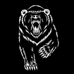 Vector image of a polar bear on a black background.