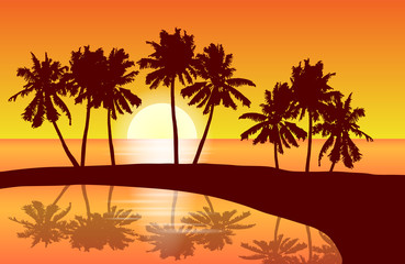Tropical island landscape vector with palm trees in orange sunset reflected in a lagune.