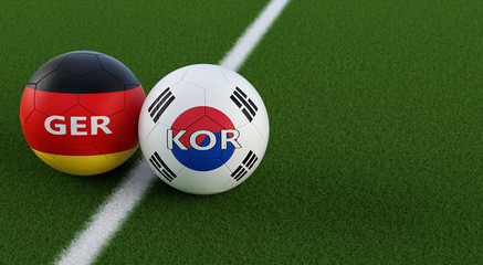 Germany vs. South Korea Soccer Match - Soccer balls in Germanys and South Korean national colors on a soccer field. Copy space on the right side - 3D Rendering