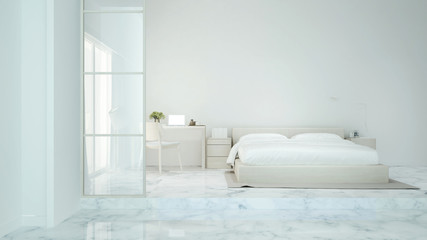 White bedroom and study room in home or condominium - Bedroom and workplace simple design for apartment or hotel artwork - 3D Rendering