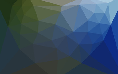 Dark Blue, Green vector low poly cover with a heart in a centre.