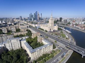 """Panorama of the city of Moscow. The building """"Hotel Ukraine""""."""