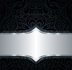 Decorative black & silver floral luxury wallpaper background design