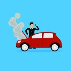 Illustration Of Businessman Calling Insurance Company Car Damage