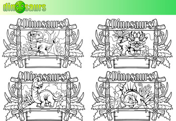 cartoon cute dinosaurs, set of vector images
