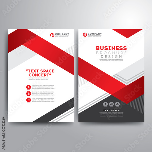 Business Brochure Template Red Gray Geometric Shapes Stock Image