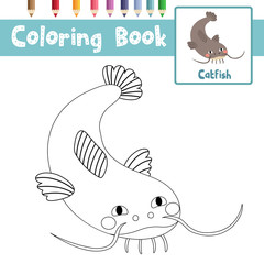 Coloring page of Funny Catfish animals for preschool kids activity educational worksheet. Vector Illustration.