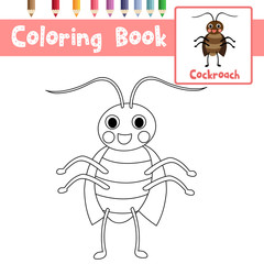 Coloring page of Cockroach animals for preschool kids activity educational worksheet. Vector Illustration.