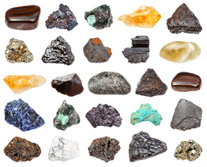 various minerals isolated on white background
