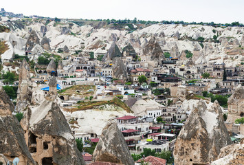 Goreme town with modern and ancient houses