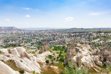 above view of rock houses and Goreme town