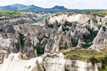 carved from rocks houses in Goreme National Park