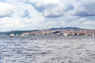 view of Istanbul city on watefront of Golden Horn