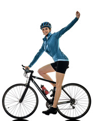 Poster de jardin Cyclisme one caucasian cyclist woman cycling riding bicycle celebrating happy isolated on white background
