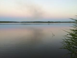 summer sunset on the river Viliya
