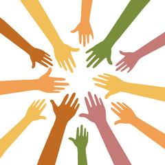 Hände zusammen - Zusammenarbeit