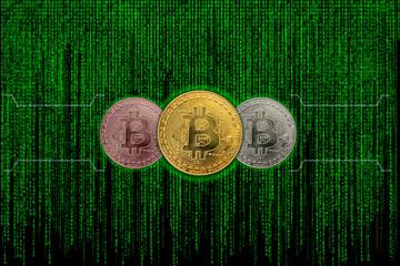 Three bitcoin metallic coin with binary code of matrix effect