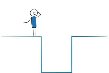 Mann vor Abgrund - überlegen - Problemlösung