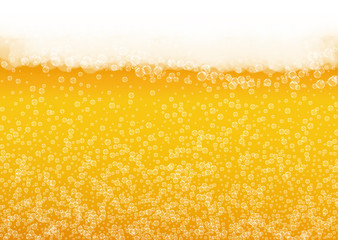 Beer foam background with realistic bubbles.  Cool liquid drink for pub and bar menu design, banners and flyers.  Yellow horizontal beer foam background. Cold pint of golden lager or ale.