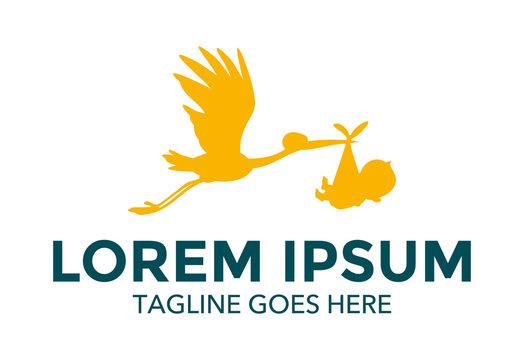 Stork Carrying Baby Logo vector illustration