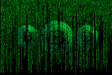 Three Bitcoin silver metallic coin in  chip background with binary code of matrix effect