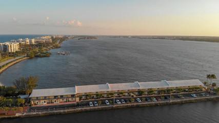 Lake Worth at sunset, panoramic aerial view, Florida