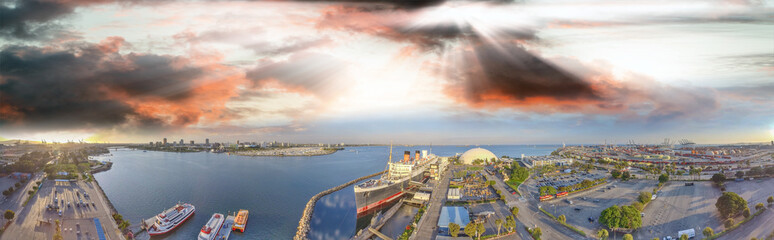 Amazing panoramic aerial view of Queen Mary, docked in Long Beach, California