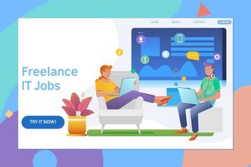 Creative website template design of remote working, freelancer, modern information technology. People work in a team flat vector illustration