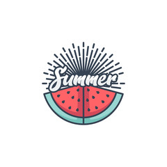 vector summer postcard watermelon vector illustration