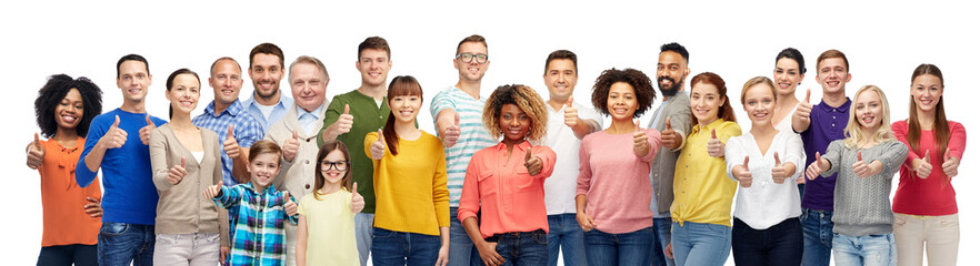people, diversity and international concept - group of men, women and kid showing thumbs up over white background Wall mural