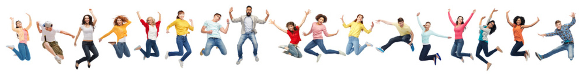 happiness, freedom, motion and diversity concept - happy people jumping in air over white background