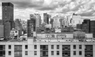 Black and white picture of the New York City, USA.