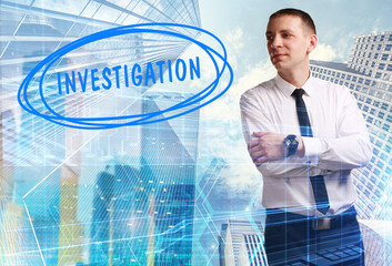 The concept of business, technology, the Internet and the network. Young businessman showing inscription: Investigation