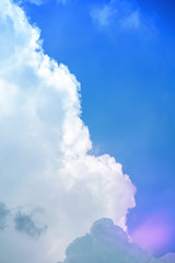 blue and purple sky with white clouds for background and copy space