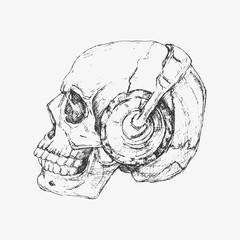 Human skull with headphone. Hand drawn vector illustration
