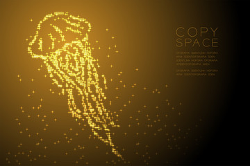 Abstract Shiny Star pattern Jellyfish shape, aquatic and marine life concept design gold color illustration isolated on brown gradient background with copy space, vector eps 10