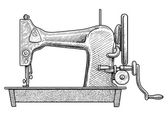 Sewing machine illustration, drawing, engraving, ink, line art, vector